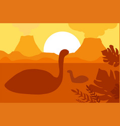 floating dinosaurs near volcanoes vector image
