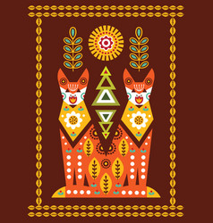 folk card in scandinavian style vector image