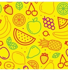 Fruits seamless pattern on yellow vector image
