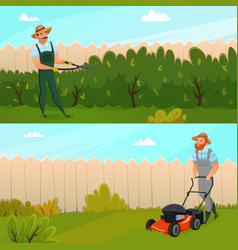 gardening work banner set vector image
