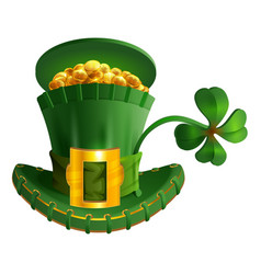 Green hat full gold coin and luck leaf clover st vector