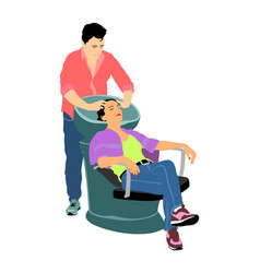 hairstylist washing woman hair in beauty salon vector image