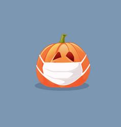halloween pumpkin wearing medical mask vector image