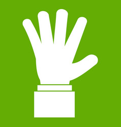 hand showing five fingers icon green vector image