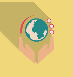 Hands holding globe earth web icon save earth vector