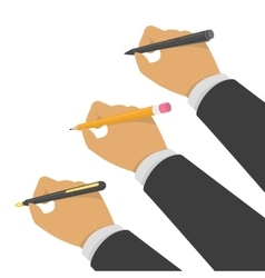 Hands holding pen and pencil vector