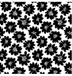 Ink drawing flowers hand drawn seamless pattern vector