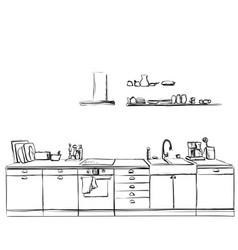 Kitchen furniture sketch hand drawn cupboard vector