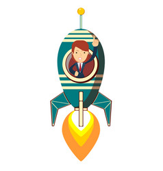 lady on space rocket vector image