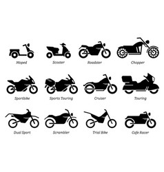 list different type motorcycle bike and vector image
