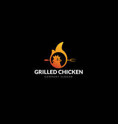 logo grilled chicken restaurant vector image