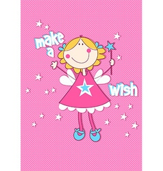 Make a wish with girl on spotted background vector