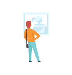 Man looking at the picture hanging on the wall vector