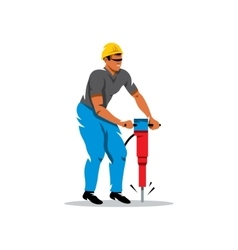 Man with Jackhammer Cartoon vector