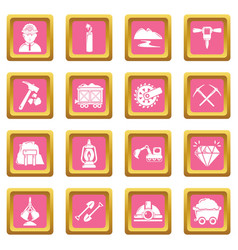 mining minerals business icons set pink square vector image