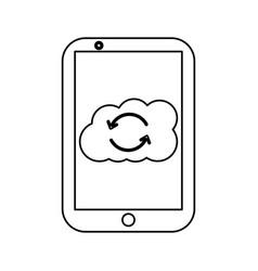 mobile cloud storage hosting system process vector image