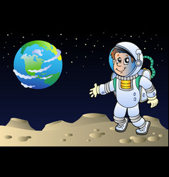 moonscape with cartoon astronaut vector image