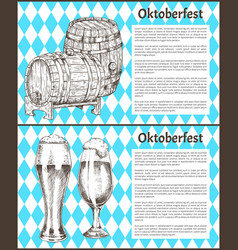 Oktoberfest beer objects set hand drawn icons vector