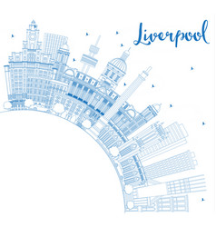 Outline liverpool england skyline with blue vector