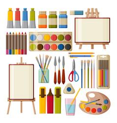 paint art tools set watercolor gouache oil and vector image