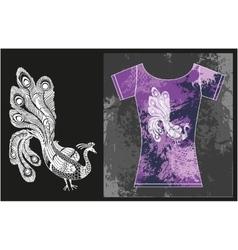 Peacock on t-shirt vector