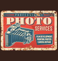 photo camera photography studio metal plate rusty vector image