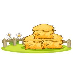Pile hay in park vector