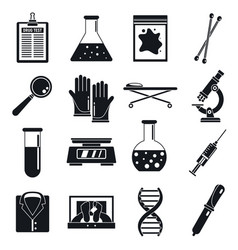 police expert laboratory icons set simple style vector image