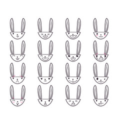 Rabbit handdrawn emoticons 4 vector