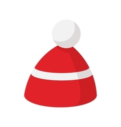 Red knitted cap with a white stripe icon vector