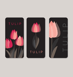 red tulip flowers on black backdrop vector image