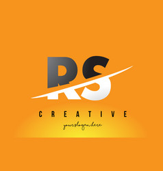 Rs r s letter modern logo design with yellow vector
