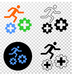 Running patient on gears eps icon with vector