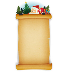 Santa claus behind old parchment background vector