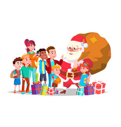 santa claus with children happy children vector image