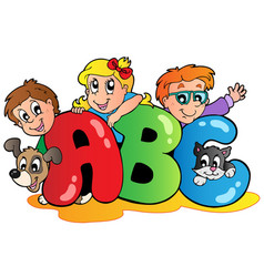 School theme with abc leters vector