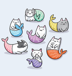 set cute kawaii cat mermaid vector image