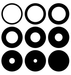 set round with different thickness perimeter vector image