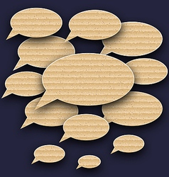 Set speech bubbles made in carton texture vector image