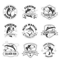 Set vintage fishing badges vector