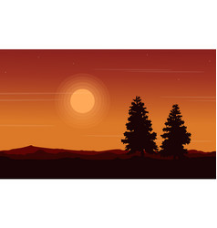 Silhouette of spruce beauty landscape vector
