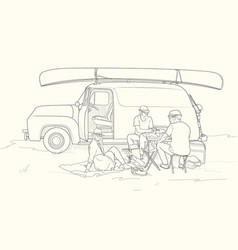 sketch picnic with retro car vector image