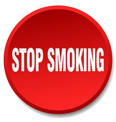 Stop smoking red round flat isolated push button vector