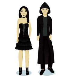 teenagers boy and girl im goth style vector image
