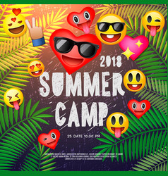 Themed summer camp poster with emoji smile faces vector