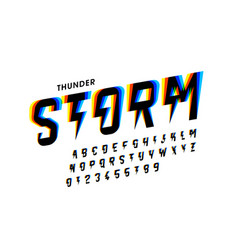 thunder storm font vector image