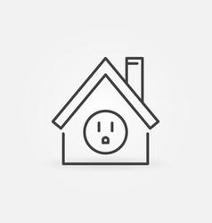 Us socket inside house outline icon smart vector