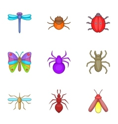Varieties of insects icons set cartoon style vector
