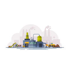 Waste processing plant garbage collection vector