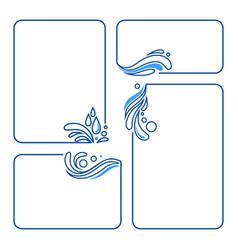 water drop splash wave set banner frames vector image